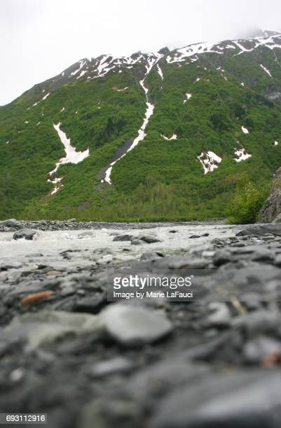 snowcapped mountain with water stream in alaska - fauci stock pictures, royalty-free photos & images