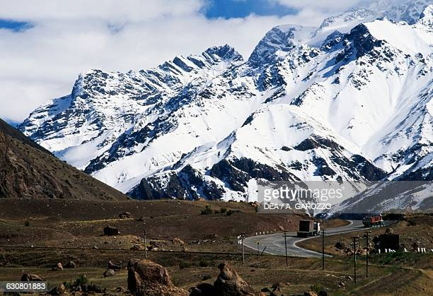 Snowcapped mountains Andean landscape Mendoza province Argentina