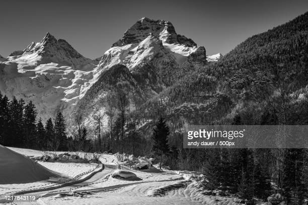 snowcapped mountains in winter, lofer, salzburger land, austria - andy dauer stock pictures, royalty-free photos & images