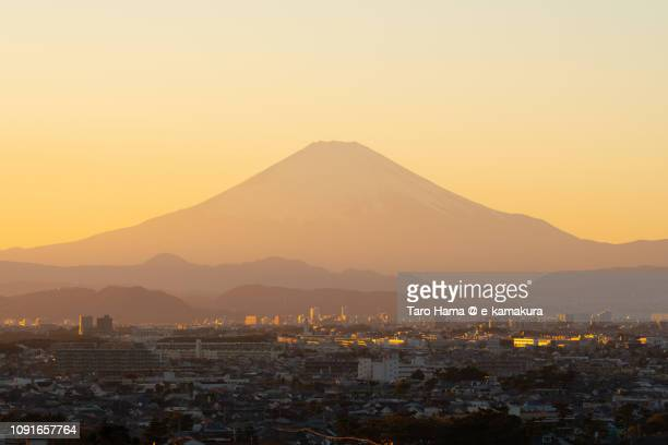 Snow-capped Mt. Fuji and Fujisawa, Chigasaki and Hiratsuka cities in Kanagawa prefecture in Japan
