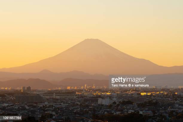 Snow-capped Mt. Fuji and Fujisawa, Chigasaki and Hiratsuka cities in Kanagawa prefecture in Japan