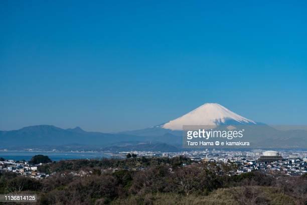 Snow-capped Mt. Fuji and Pacific Ocean in Japan