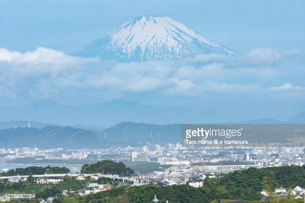 snowcapped mt. fuji and residential district near pacific ocean in kanagawa prefecture of japan - chigasaki stock pictures, royalty-free photos & images