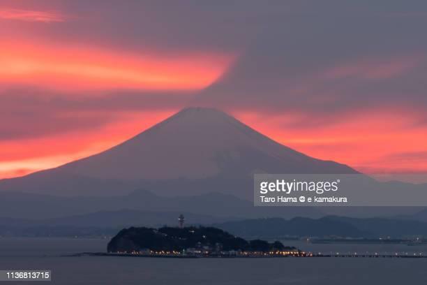 Snow-capped Mt. Fuji over Pacific Ocean in Japan