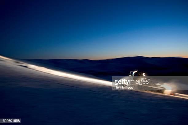 Snowcat Grooming Ski Slope
