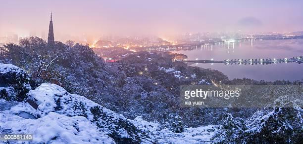 Snow-clad scenery of Hangzhou City,China