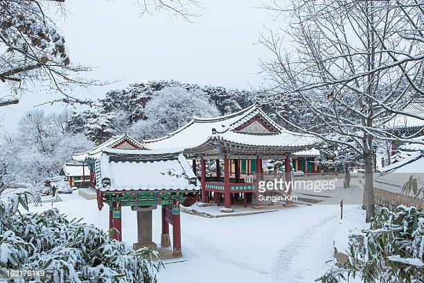 Snow-covered Buddhist Temple