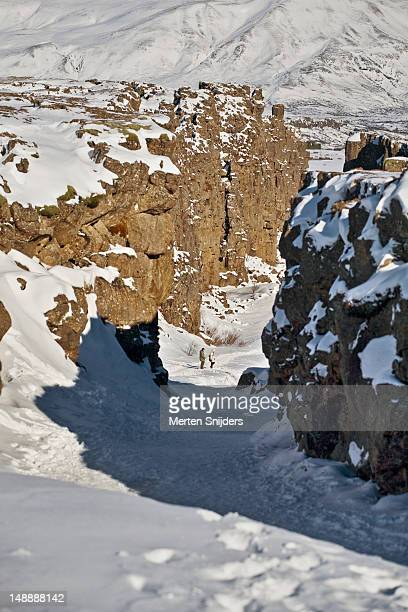 snow-covered gorge in winter. - merten snijders stock pictures, royalty-free photos & images