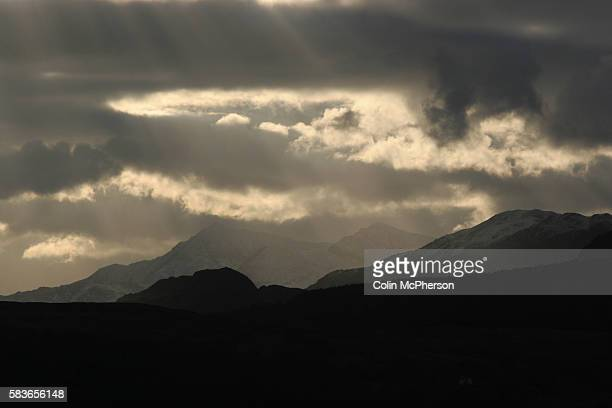 Snow-covered hills in the Snowdonia National Park in north Wales, an area popular with hillwalkers, climbers and tourists attracted to the area by...