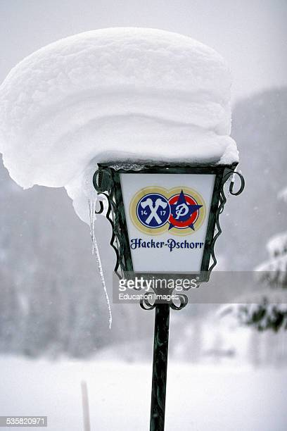 Snowcovered lamp Mitten Wald Germany