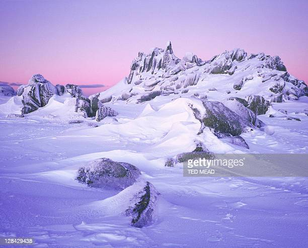 snow-covered landscape at dawn, kosciuszko national park, nsw, austalia