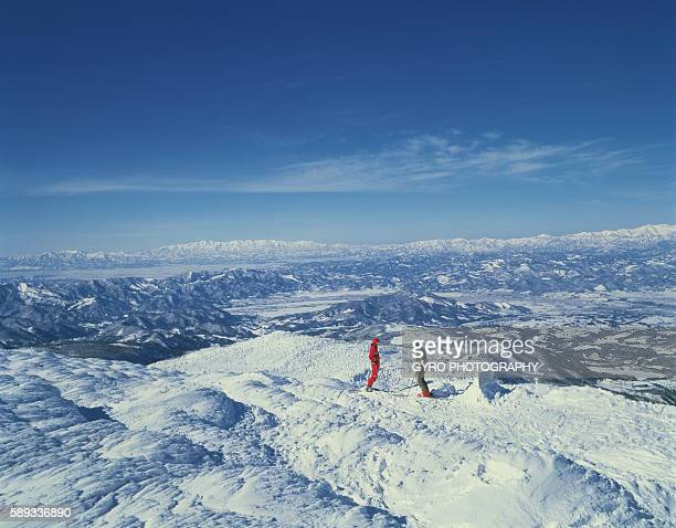Snow-covered landscape in in Yamagata, Yamagata Prefecture, Japan