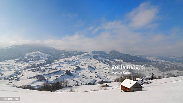 Snow-covered landscape in the area of Thurtal - Toggenburg, Kanton St. Gallen, Switzerland, Europe.