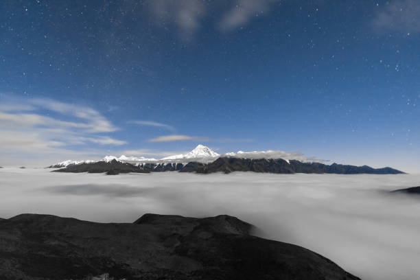 snow-covered Minya Konka (Mount Gongga) with cloud and stars,Sichuan,China.