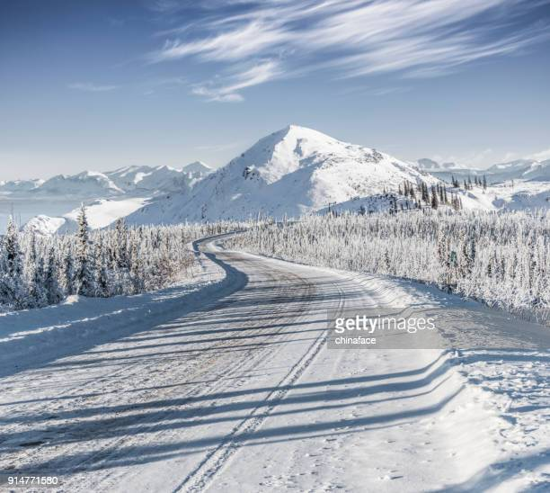 snow-covered mountain road at Yukon,Canada