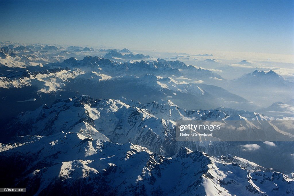 Snow-covered mountains, Alps, Italy, aerial view : Stock-Foto
