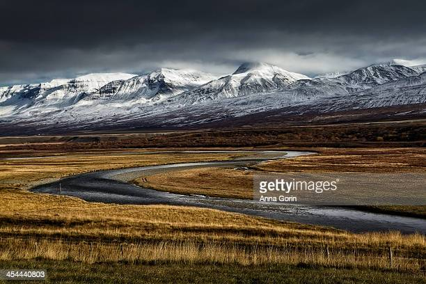 Snow-covered mountains in Hof, Iceland