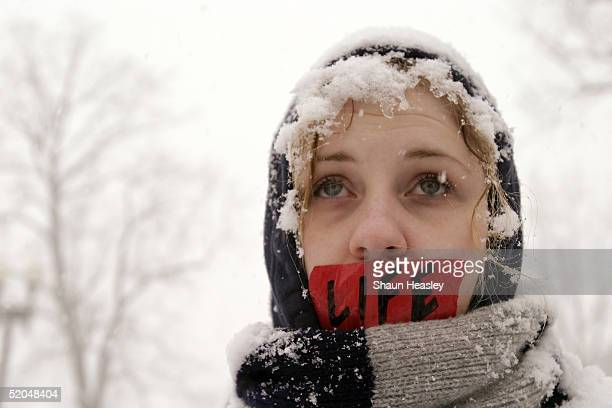 Snowcovered prolife activist Marylnn Joice from Decatur Alabama demonstrates outside the US Supreme Court during a winter snowstorm January 22 2005...