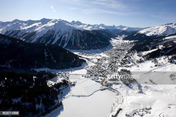 Snowcovered rooftops of Davos town the location for the World Economic Forum's 2012 annual meeting are seen in this aerial photograph in Davos...