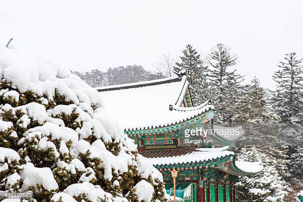 Snow-covered temple.