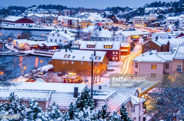 Snow-covered town at dusk