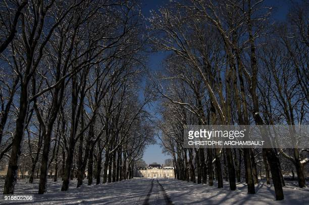 TOPSHOT Snowcovered trees line an alley leading to the castle of Chevilly near Orleans some 120 km south of Paris on February 8 2018 / AFP PHOTO /...