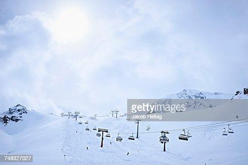 Snow-covered with ski lifts, Hintertux, Tirol, Austria