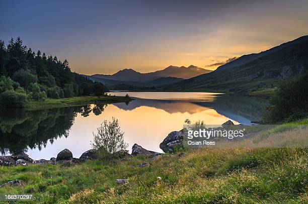snowdon from mymbyr - snowdonia stock photos and pictures