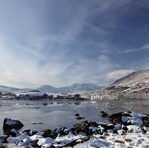 snowdon in winter - mount snowdon stock photos and pictures