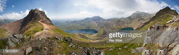 snowdon panorama - mount snowdon stock photos and pictures