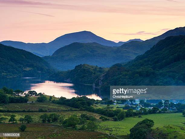 snowdonia national park sunset - mount snowdon stock photos and pictures