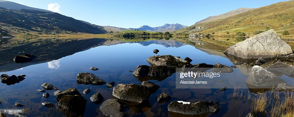 Snowdonia reflected : Stock Photo