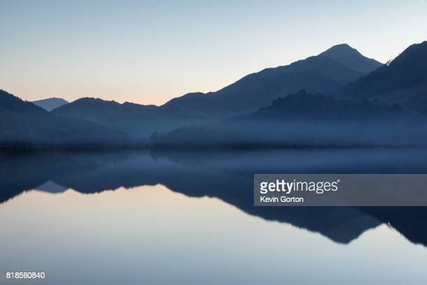 snowdonia reflections - reflection lake stock photos and pictures