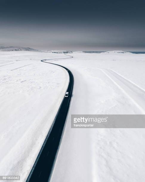 snowed landscape in iceland - westfjords iceland stock photos and pictures