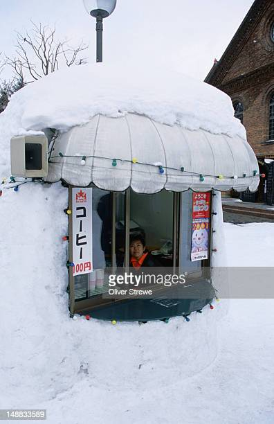 A snowed-in kiosk at the original Sapporo Brewery in mid-winter