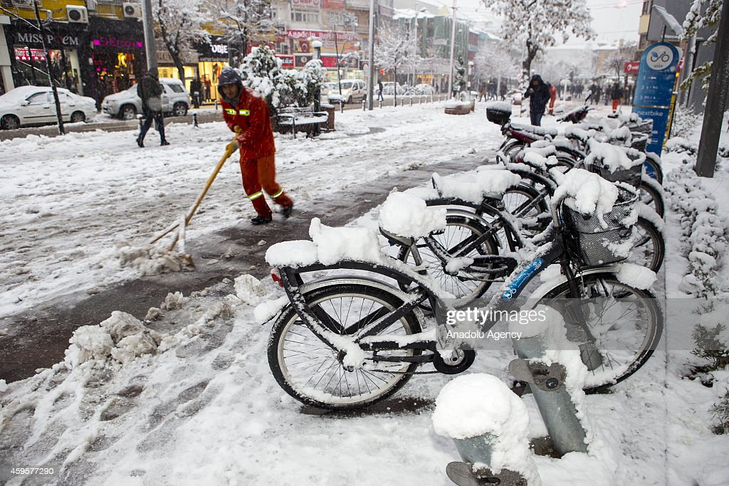 Snowfall affect adversely the daily life in Konya, Turkey on November 25, 2014.