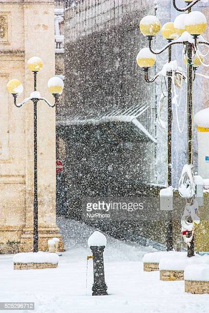 Snowfall in L'Aquila the regional capital of Abruzzo on November 26 2013 Some roads were blocked with severe transportation problem In photo the...