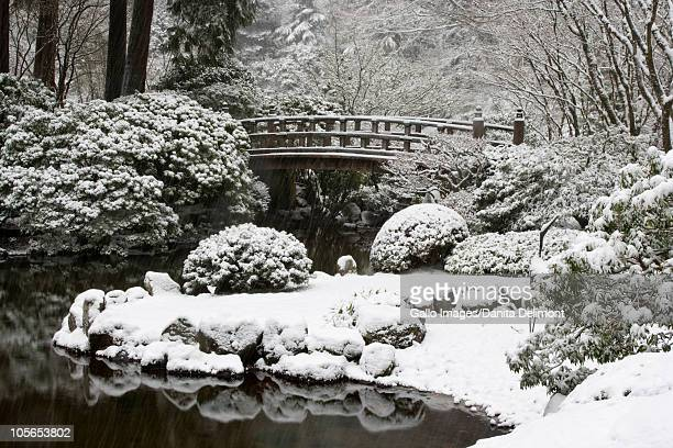 Snowfall in Portland Japanese Garden, Portland, Oregon, USA