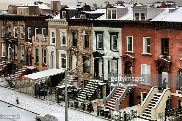 Snowfall in the streets of Bedford Stuyvesant, Brooklyn, New York City