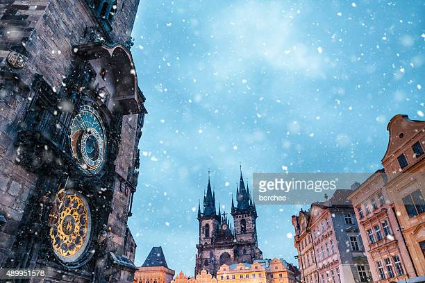 Snowfall On Old Town Square In Prague