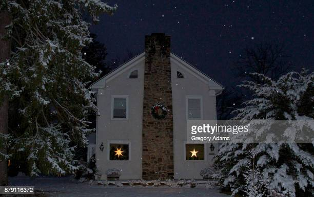 Snowfall over a Pennsylvania House at the Holidays