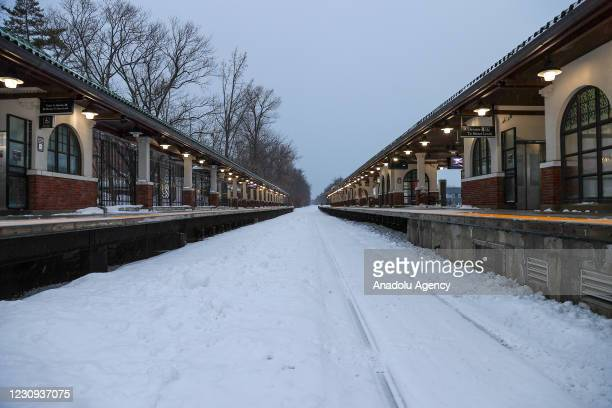 Snowfall view Ridgewood train station is seen in New Jersey, United States on February 2021.