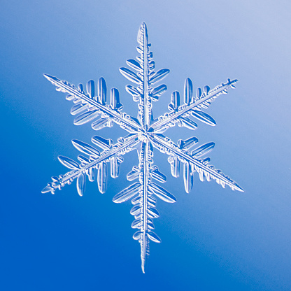 Snowflake against blue background - gettyimageskorea