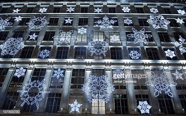 Snowflake lighting during Saks Fifth Avenue Snowflake Spectacular and Holiday Window Unveiling November 21 2005 at Saks Fifth Avenue in New York City...