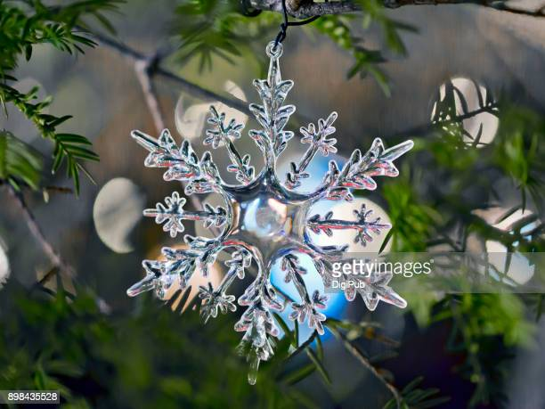 Snowflake pattern Christmas ornament hanging in a big tree in Yokohama Minato Mirai outdoor in the night