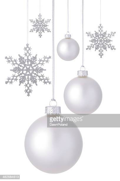 snowflakes and baubles - silver coloured stock pictures, royalty-free photos & images