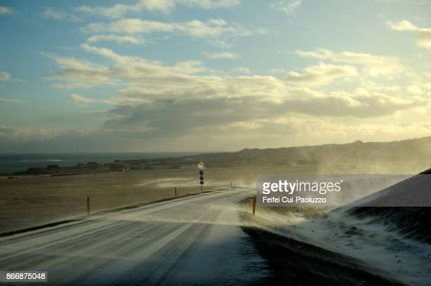 Snowing road at Arnastapi in Snæfellsnes peninsula of western region in Iceland