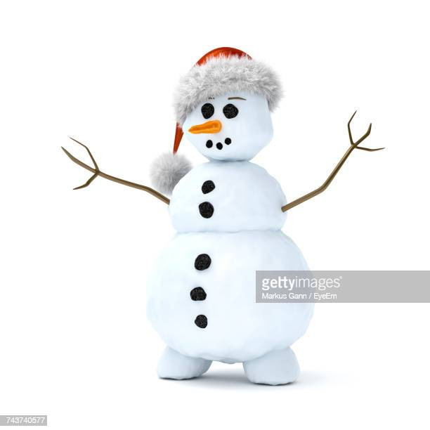 snowman against white background - snowman stock pictures, royalty-free photos & images