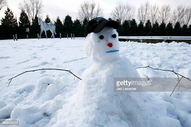A snowman and a statue of Desert Orchid in the background near the parade ring at the Kempton Park race course as winter race meetings are cancelled...