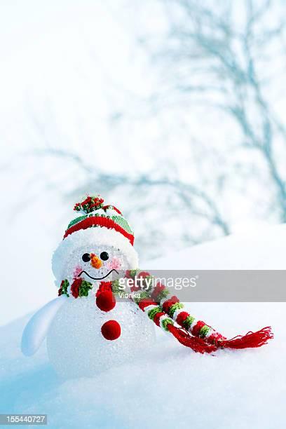 Schneemann auf gefrorenen Wald